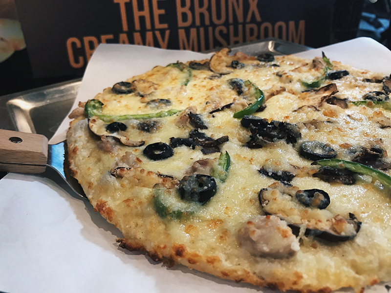The Bronx Creamy Mushroom Pizza Is A Creamy Mix Of Mushroom Chicken Olives And Green Bell Peppers Theres A Generous Amount Of White Sauce And Youll